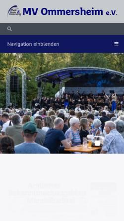 Vorschau der mobilen Webseite www.mvommersheim.de, MVO Musikverein Ommersheim e.V.