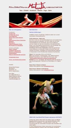 Vorschau der mobilen Webseite www.bodenstaendig.de, Mutanth Musiktanztheater-Laboratorium