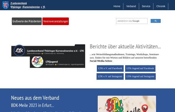 Vorschau von www.karnevalthueringen.de, Landesverband Thüringer Karneval Vereine