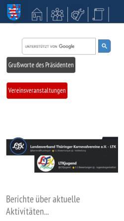 Vorschau der mobilen Webseite www.karnevalthueringen.de, Landesverband Thüringer Karneval Vereine