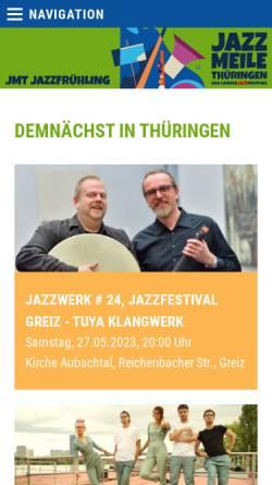 Vorschau der mobilen Webseite www.jazzmeile.org, Jazzmeile Thüringen