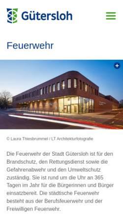 Vorschau der mobilen Webseite www.feuerwehr-guetersloh.de, Freiwillige Feuerwehr Gütersloh