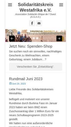 Vorschau der mobilen Webseite www.solidaritaetskreis-westafrika.de, Solidaritätskreis Westafrika e.V.