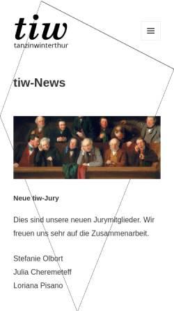 Vorschau der mobilen Webseite www.tanzinwinterthur.ch, tanzinwinterthur - Winterthur im Tanz - Verein zur Unterstützung Winterthurer Tanzaktivitäten