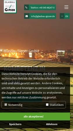 Vorschau der mobilen Webseite www.glasbau-gipser.de, Michael Gipser Glas- und Fensterbau GmbH