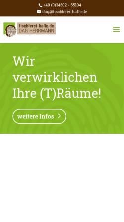 Vorschau der mobilen Webseite www.tischlerei-halle.de, Vereinigte Tischlereien Gesellschaft Herrmann & Kolk mbH