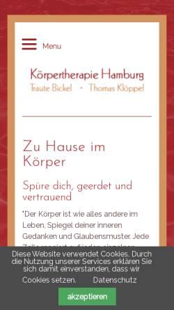 Vorschau der mobilen Webseite www.koerpertherapie-hamburg.de, Körpertherapie Hamburg