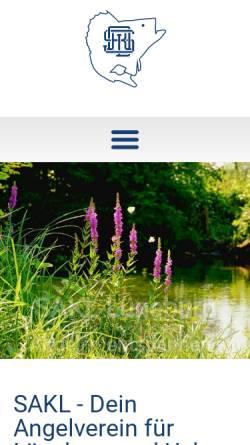 Vorschau der mobilen Webseite www.sakl.de, Angelvereins Sportangler - Kameradschaft Lüneburg e.V.