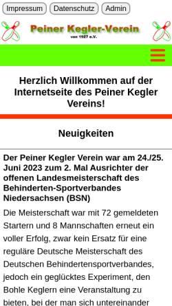Vorschau der mobilen Webseite www.peiner-kegler-verein.de, Peiner Kegler Verein von 1927 e.V.