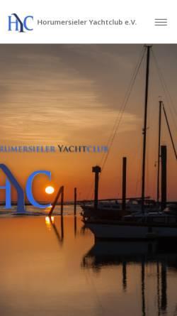 Vorschau der mobilen Webseite www.hyc-online.de, Horumersieler Yachtclub e.V.