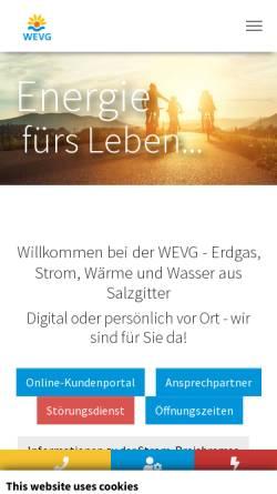 Vorschau der mobilen Webseite www.wevg.com, WEVG Wasser- und Energieversorgungsgesellschaft mbH Salzgitter