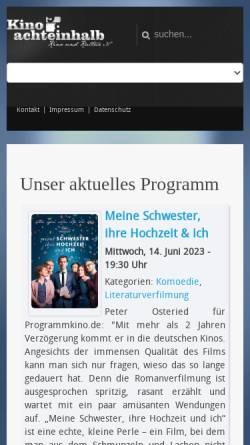 Vorschau der mobilen Webseite www.kino-achteinhalb.de, Kino achteinhalb, Kino und Kultur e.V.