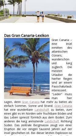 Vorschau der mobilen Webseite www.gran-canaria-lexikon.de, Gran Canaria Lexikon
