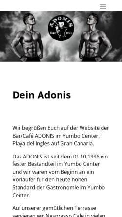 Vorschau der mobilen Webseite adonisworld.de, Adonis