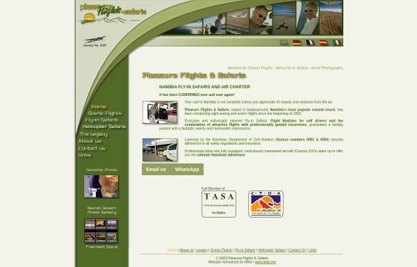Vorschau von www.pleasureflights.com.na, Pleasure Flights & Safaris