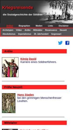Vorschau der mobilen Webseite www.kriegsreisende.de, Kriegsreisende