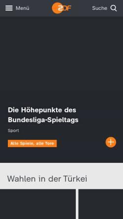 Vorschau der mobilen Webseite www.zdf.de, Zweites Deutsches Fernsehen