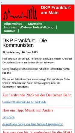 Vorschau der mobilen Webseite www.dkp-frankfurt.de, DKP Frankfurt am Main