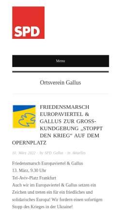 Vorschau der mobilen Webseite spd-gallus.de, SPD-Ortsverein Gallus