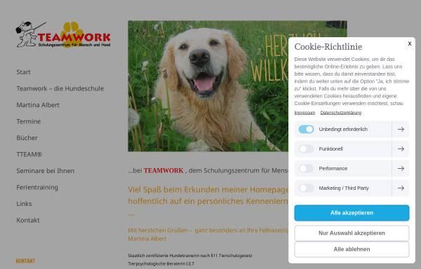 Vorschau von www.teamwork-albert.de, Teamwork Schulungszentrum für Mensch und Hund