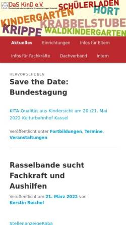 Vorschau der mobilen Webseite daskind.org, Dachverband Kindereinrichtungen - Das Kind e.V.