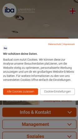 Vorschau der mobilen Webseite www.iba-darmstadt.com, Internationale Berufsakademie - F+U Unternehmensgruppe gGmbH