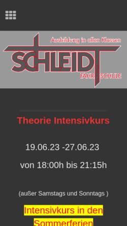 Vorschau der mobilen Webseite www.schleidt-online.de, Fahrschule Schleidt
