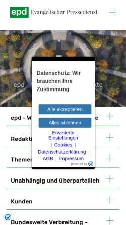 Vorschau der mobilen Webseite epd.de, Evangelischer Pressedienst