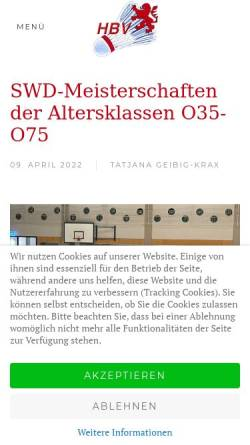Vorschau der mobilen Webseite www.hessischer-badminton-verband.de, Hessischer Badminton Verband e.V.