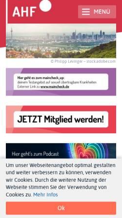 Vorschau der mobilen Webseite www.frankfurt-aidshilfe.de, AIDS-Hilfe Frankfurt e.V.