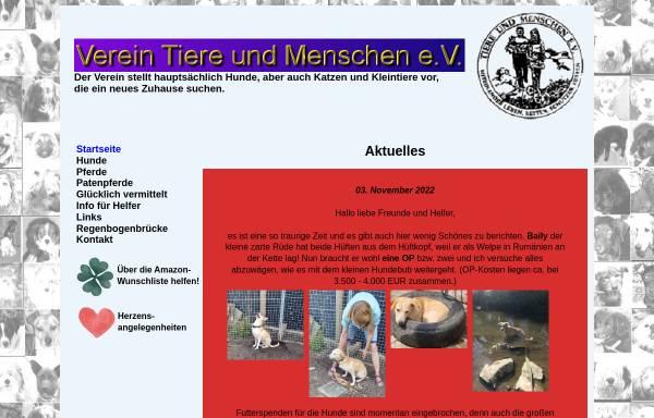 Vorschau von www.tsv-tiere-und-menschen.de, Tierschutzverein Tiere und Menschen e.V.