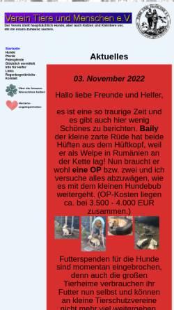 Vorschau der mobilen Webseite www.tsv-tiere-und-menschen.de, Tierschutzverein Tiere und Menschen e.V.