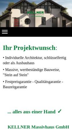 Vorschau der mobilen Webseite www.kellnerhaus.de, KELLNER Massivhaus GmbH & Co. KG