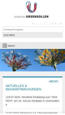Vorschau der mobilen Webseite www.ursensollen.de, Gemeinde Ursensollen