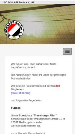 Vorschau der mobilen Webseite www.sc-schlaff-berlin.de, SC Schlaff Berlin e.V.