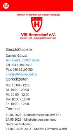 Vorschau der mobilen Webseite www.vfbhermsdorf.de, VfB Hermsdorf e.V.