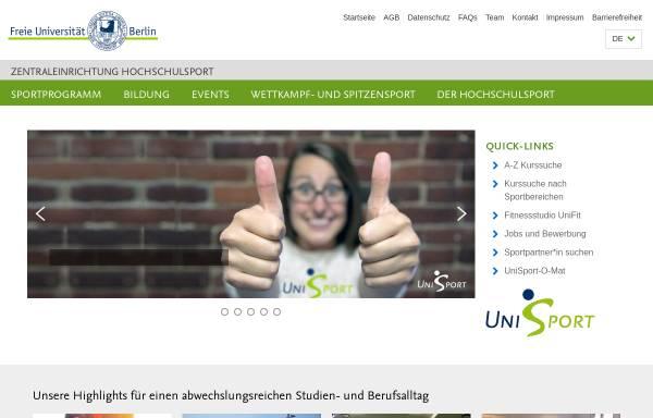 Vorschau von www.hs-sport.fu-berlin.de, FU Hochschulsport Berlin