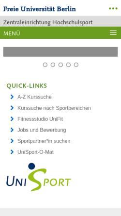 Vorschau der mobilen Webseite www.hs-sport.fu-berlin.de, FU Hochschulsport Berlin