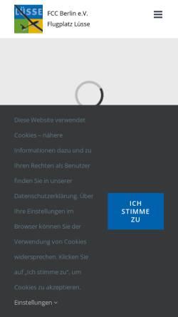 Vorschau der mobilen Webseite www.fcc-berlin.de, Flugsportclub Charlottenburg Berlin e.V.