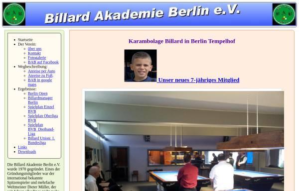 Billard Akademie Berlin E V Kegel Und Kugelsport Sport