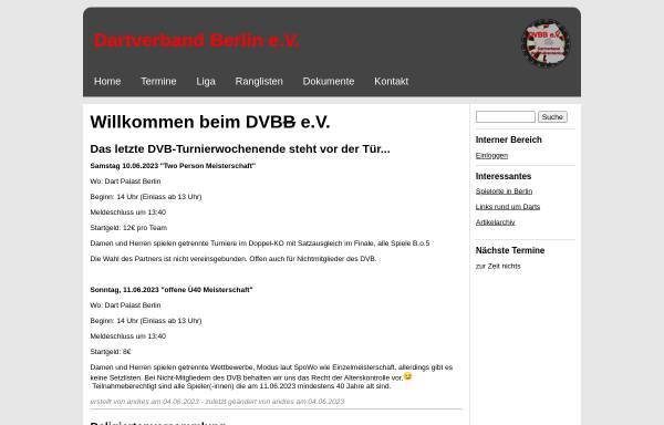 Vorschau von www.dvbb.de, Dartverband Berlin Brandenburg