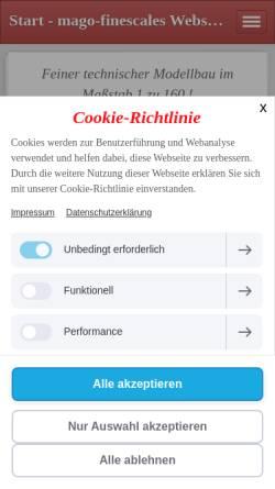 Vorschau der mobilen Webseite www.mago-finescale.de, Mago-Finescale, Klaus Maaser
