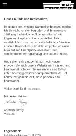 Vorschau der mobilen Webseite www.dresdner-dampfeisenbahn.de, Dresdner Dampfeisenbahn Aktiengesellschaft