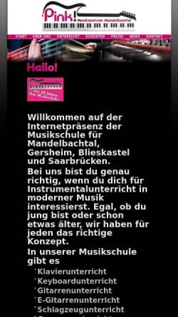 Vorschau der mobilen Webseite www.musikzentrum-mandelbachtal.de, Musikschule Pink Piano Ormesheim