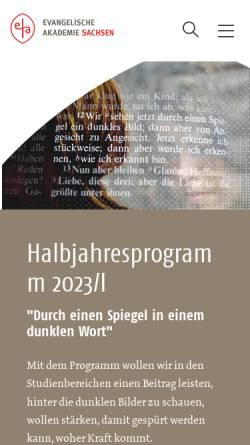 Vorschau der mobilen Webseite www.ev-akademie-meissen.de, Evangelische Akademie Meißen