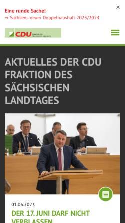 Vorschau der mobilen Webseite www.cdu-sachsen-fraktion.de, CDU-Fraktion des Sächsischen Landtages