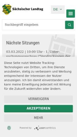 Vorschau der mobilen Webseite www.landtag.sachsen.de, Sächsischer Landtag