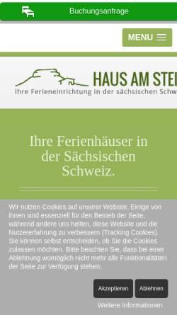 Vorschau der mobilen Webseite www.saechsische-schweiz.info, Ferieneinrichtungen Haus am Stein - Sächsische Schweiz