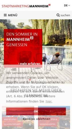 Vorschau der mobilen Webseite www.tourist-mannheim.de, Tourist Information Mannheim