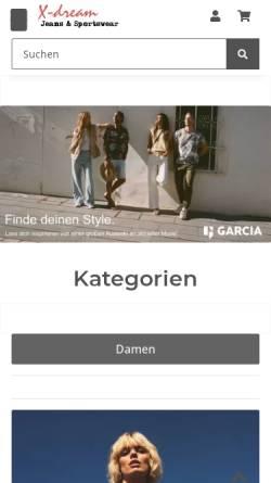 Vorschau der mobilen Webseite xdream24.de, X-Dream Jeans & Sportswear